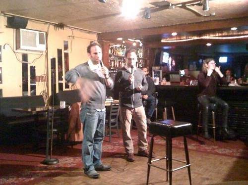 The Sklar Brothers performing at Sukis open mic