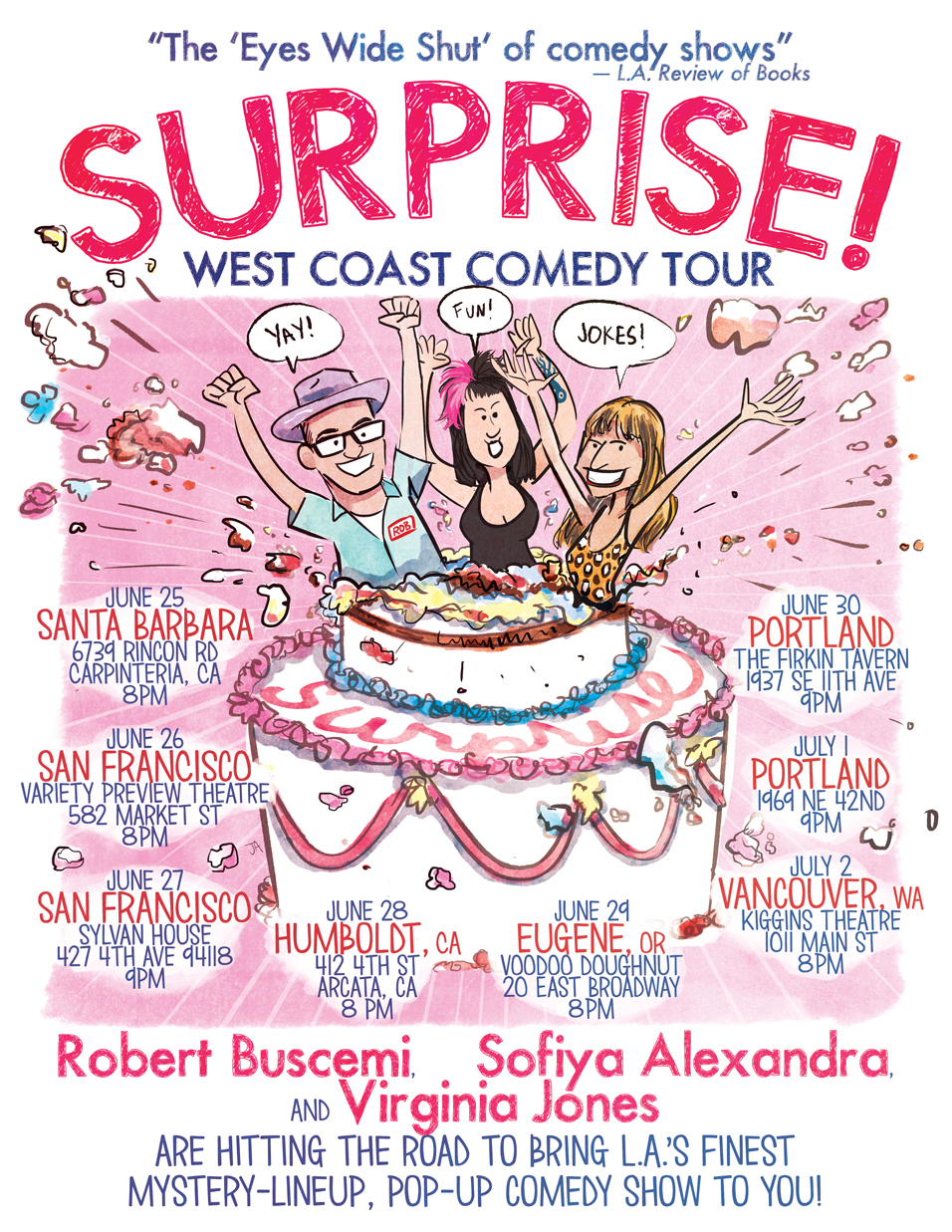 promotional poster for surprise comedy tour virginia jones robert buscemi sofiya alexandra by josh abraham